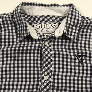 GUESS Blue White Checkered Shirt Youth Large